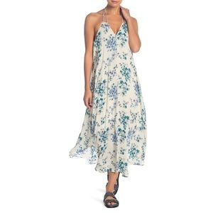 Lovestitch floral Print Halter Dress ocean blue